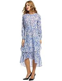 76b96d6caa3b ANGVNS Damen Elegant Sommerkleider Wadenlang Druckkleid Maxikleid mit  Langarm Blumen Kleid Asymmetrisch Saum