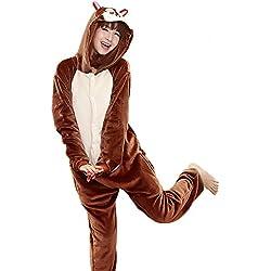 softan Pijama de Animal para Adultos, Disfraz de Dormir con Bolsillos y Cremallera