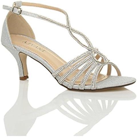 Donna slim tacco medio con cinturino fibbia formale t-bar sandali