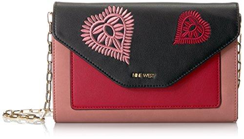 Nine West Damen Umhängetasche, Handtasche, Dusty Coral/Black/Ruby Red, Einheitsgröße -