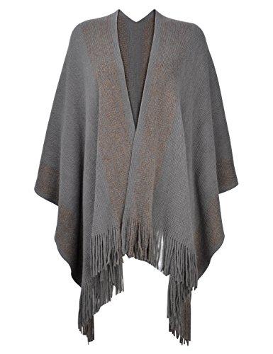 ZLYC Damen Weiche Schlichte Poncho Capes Retro Cardigans Pullover - Reversible Damen-pullover
