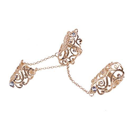 Eastever Hohle Blume Totem Wraps Joint Siamese Ring, Diamant Wicklung Joint Dreiteiligen Ringe Verbunden Kreative Mode Persönlichkeit Zubehör