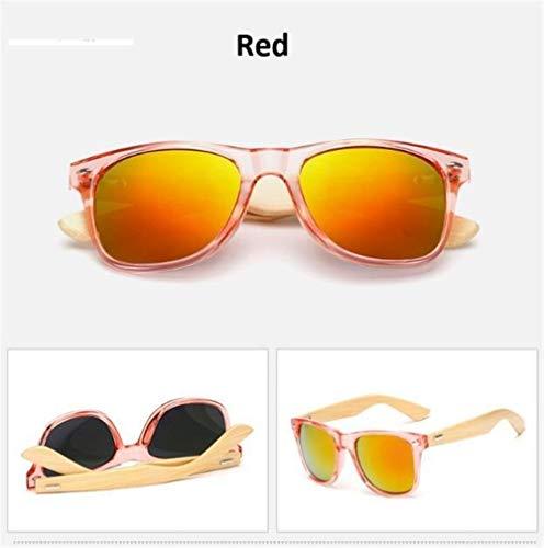 DANANGUA Retro Holz Sonnenbrille Frauen Herren Bambus Sonnenbrille Frauen Markendesign Klassische Brille Gold Spiegel Sonnenbrille Shades (Lenses Color : Red, Size : M)