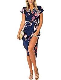 YOINS Summer Dresses Floral for Women Self-tie V-Neck Short Sleeves Split  Casual 7ba2ad414