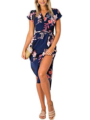 YOINS Robe Longue Femme Été Chic Robes Imprimé Florale Sexy Dress Robe de Plage Asymétrique Robe Tunique Maxi Une Ligne Imprimé-Bleu Foncé 01 EU 44