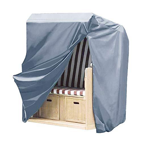 Hentex Cover Gartenmöbel Premium Strandkorbhülle,dreilagiges laminiertes Fabris 300D und TPU, Winterfest und Wasserdicht, Sonnencreme, UV- Beständig Strandkorb (128W*105D*140/160H cm)