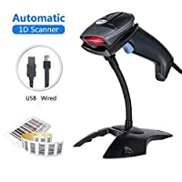 Barcode Scanner USB Laser 1D Wired Automatic Handheld MUNBYN Bar Code Reader 300 Scans/SEC Plug and Play with Base Stand Compatible with Mac Win10 Win7 Win8.1 iOS7 Linux