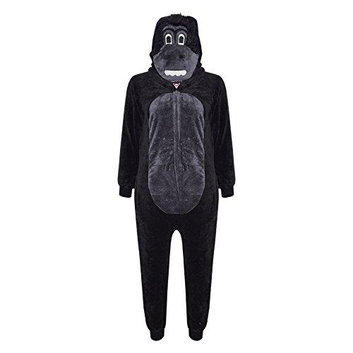A2Z 4 Kinder Kinder Mädchen Jungen Strampelanzug Extra Weich Flaumiger Zebra Alles in einem - Gorilla - 9-10 - Zebra Strampelanzug Kostüm