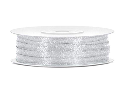 SiDeSo® SATINBAND 50m x 3mm viele Farben Hochzeit Dekoband Geschenkband Antennenband Schleifenband (silber)