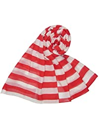 Red and White Bold Stripe Scarf Ladies Fashion Scarves