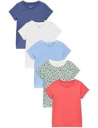 next Fille Lot De Cinq T-Shirts Manches Courtes Rouge/Blanc/Bleu (3 À 16Ans)