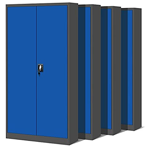 4er Set Aktenschrank C001 Metallschrank Stahlschrank Stahlblech Werkzeugschrank Büroschrank Schrank Universalschrank Flügeltürschrank 195 cm x 90 cm x 40 cm (anthrazit/blau)