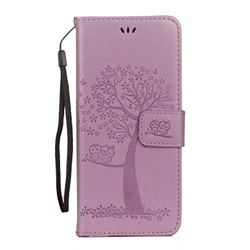 ISAKEN Kompatibel mit Galaxy S8 Hülle, PU Leder Brieftasche Geldbörse Wallet Case Ledertasche Handyhülle Tasche Schutzhülle Hülle mit Handschlaufe Strap für Samsung Galaxy S8 - Baum Eulen Violett -