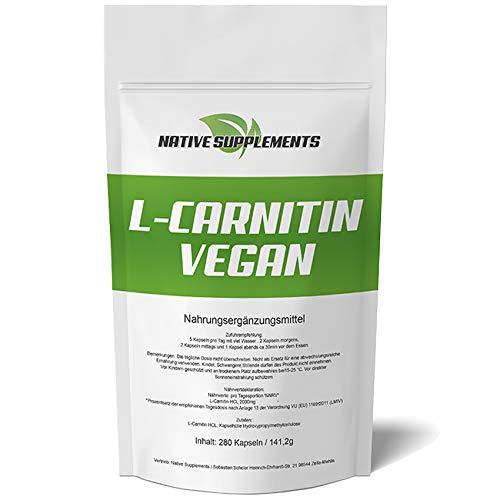 280 Kapseln L-Carnitin Vegan, Hochdosiert 2000mg / Portion, ohne Zusatzstoffe, deutsche Herstellung, stärkste Qualität, Für Vegetarier & Veganer geeignet