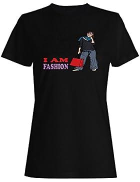 Moda, muchacha, mujeres, divertido, vendimia, arte, ciudad camiseta de las mujeres xx61f