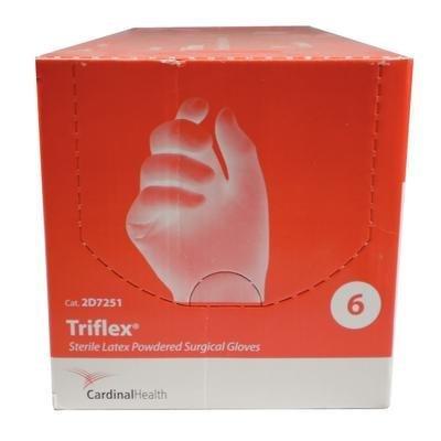 cardinal-health-2d7251-triflex-natural-rubber-latex-powder-free-sterile-surgical-gloves-cream-size-6
