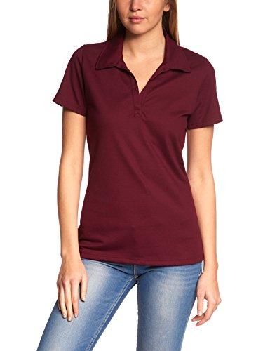 Trigema Damen Poloshirt ohne Knopfleiste, Einfarbig, Gr. 44 (Herstellergröße: L), rot (sangria 089)