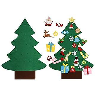 Asommet 3Ft. DIY Filz Weihnachtsbaum Set mit 28 Stück Abnehmbare Ornamente Wanddekor für Kinder Hause Tür Dekoration