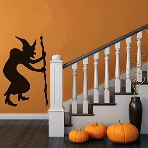 (Bucklige Hexe Krücke Moderne Wandaufkleber Für Kinder Schlafzimmer Halloween Party Decals Wohnzimmer Wohnkultur Wasserdichte Tapete 44 * 69 cm)