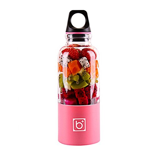 TiooDre Portable Juicer Cup USB Rechargeable Electric Automatic Bingo Vegetables Fruit Juice Maker Cup Blender Mixer Bottle, Pink