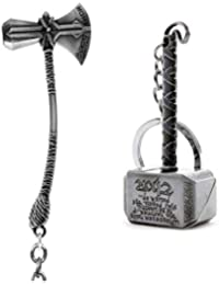 SOI Marvel Avengers Infinity War Thor Axe-Hammer & Mjolnir- Hammer Stormbreaker Silver Metal Keychain & Keyring (Pack of 2) for Bikes, Cars, Bags, Home, Cycle, Men, Women, Boys and Girls
