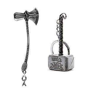 SOI Marvel Avengers Infinity War Thor Axe-Hammer & Mjolnir- Hammer Stormbreaker Silver Metal Keychain & Keyring (Pack of 2)