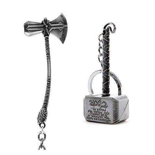 SOI Marvel Avengers Infinity War Thor Axe-Hammer & Mjolnir- Hammer Stormbreaker Silver Metal Keychain & Keyring (Pack of 2) for Bikes, Cars, Bags, Home, Cycle, Men, Women, Boys and Girls