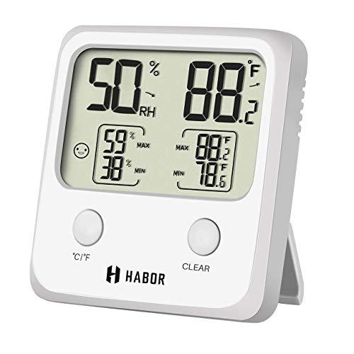Habor Thermo-Hygrometer, Temperatur- und Feuchtigkeitsmonitor, innen digitales Thermometer und Hygrometer, Hohe Genauigkeit Wireless Thermometer mit LCD-Anzeige