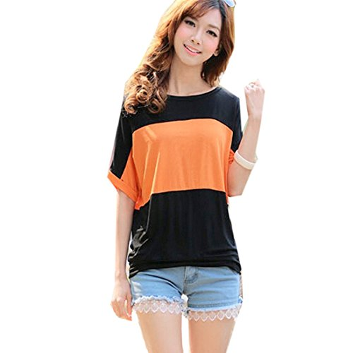 QIYUN.Z Manches Courtes En Coton O Decollete Des Femmes D'ete Raye Occasionnels Long Tee Shirt Orange