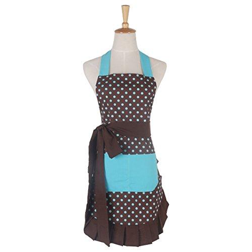 G2PLUS Schön Frau Schürze Baumwolle Blumenmuster Küchenschürze Modische Apron mit Taschen zum Kochen oder Backen (Blau)