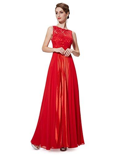 Ever Pretty Robe de soir¨¦e longue sans manche en lace 08352 Vermillon