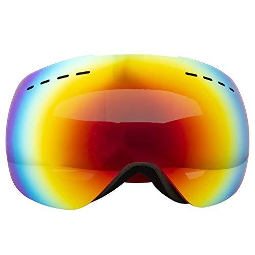 Skibrille Doppelte Anti-Fog-Cola-Karte Myopie Große kugelförmige Schneespiegelbrille Großes Sichtfeld Skibrille Kletterwindschutzscheibe im Freien Snowboarden, Skifahren, Skaten ( Farbe : Rot )