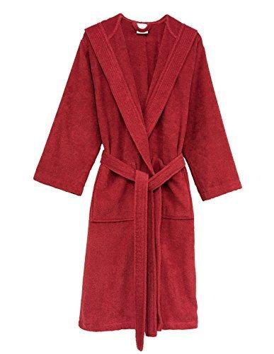 TowelSelections Damen Bademantel mit Kapuze, Frottee, hergestellt in der Türkei - Rot - Small/Medium - Knit Womens Pyjamas