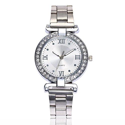 Beikoard promozioni Orologi Rotondi dell\'orologio del Quarzo analogico della Banda dell\'Acciaio Inossidabile di Modo delle Donne (Argento)