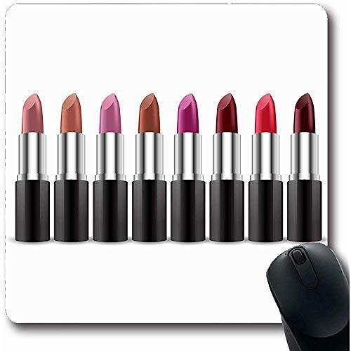 Mauspad Lippensilber Kosmetische Farbe Lippenstifte Rot Rosa Hell Lipgloss Make-up Schwarz Designfarbe Rutschfeste Gaming-Mausunterlage Mauspads Computer 25X30cm -