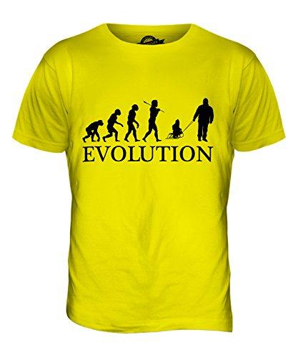 CandyMix Vater Und Kind Schlitten Evolution Des Menschen Herren T Shirt Zitronengelb
