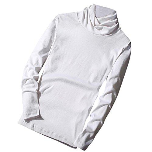 Sweatshirt Herren Btruely Winter Mode Männer Rollkragen Pullover Langarm Tops Männer Retro Bluse (XL, Weiß) (Baumwolle Rollkragen Ralph Lauren)