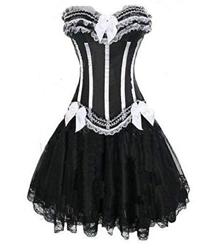 Für Immer jung Burlesque Moulin Rouge Lolita Fancy Dress Korsettkleid Weiße und Schwarze Streifen 2-teiliges Korsett + Rock Größe 42