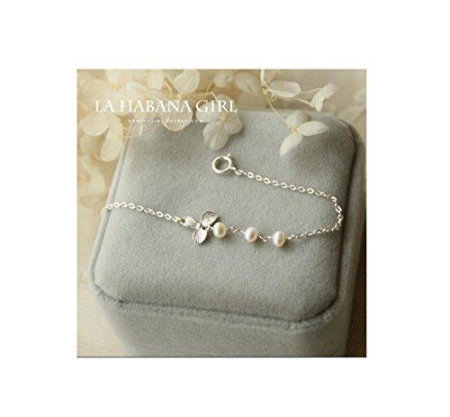AIURLIFE Perla di trifoglio in argento braccialetto fatto a mano , wrist net size (Perla Del Trifoglio)