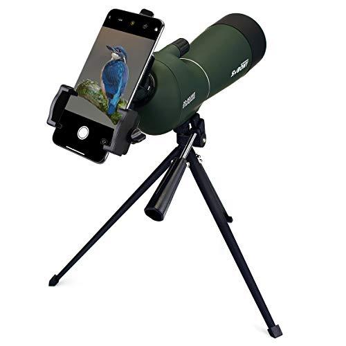 Svbony Spektiv SV28 20-60x60mm IP65 Wasserdicht 45 Grad Abgewinkelt Okular BAK-4 mit Stativ und Smartphone Adapter für Vogelbeobachtung Sportschützen
