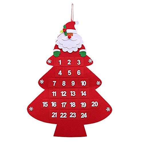 Kesoto natalizio calendario dell'avvento calendario a forma di albero di natale con mini tasche calendario da appendere decorazione di parete, 59 x 43 cm