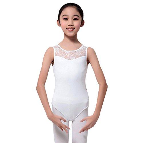 MORESAVE Mädchen Ärmelloses Spitze Ballett Dancewear Trikotanzug Gymnastik Oberseiten mit (Kostüme Wettbewerb Hop Hip Tanz)