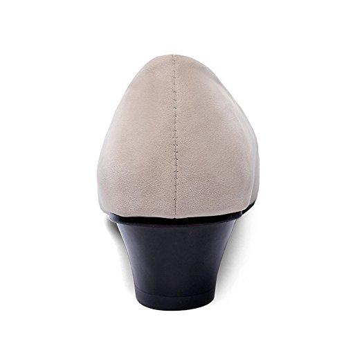 TAOFFEN Damen Mode Classical Niedrig Blockabsatz kleine Größe Pumps Beige
