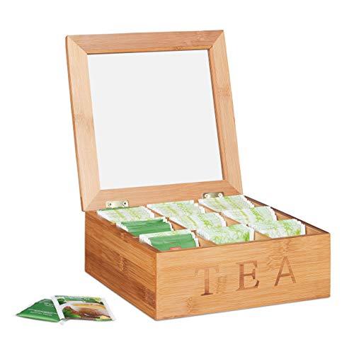Relaxdays 10024614 Teebox Bambus, mit 9 Fächern, quadratische Teekiste, Sichtfenster, für Teebeutel, HBT: 8,5 x 22 x 22 cm, Natur Bambus 9