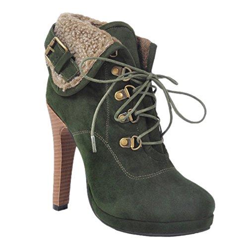 13cm Faschion Redondo De Stiletto Mulheres Botas Rendas Bico Verde Kolnoo Até De Inverno Salto Sapatos ERxT4xqn