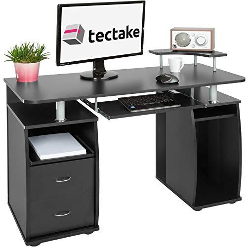 tectake Bureau Informatique Table de l'ordinateur avec de Nombreux rangements - diverses Couleurs au Choix - (Noir   no. 402037)