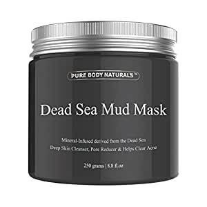 Pure Body Naturals 250G/ 8.8 Fl. Oz. - Dead Sea Mud Mask Best For Facial Treatment, Minimizes Pores, Reduces Wrinkles, And Improves Overall Complexion - Dead Sea Minerals Help To Pull Toxins Out Of The Skin