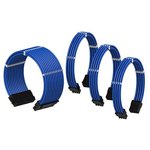 LINKUP PSU Cable Extension Sleeved Custom Mod GPU PC Power Supply Braided w/Comb Kit |1x 24 pin (20+4) | 1x 8 pin (4+4) CPU | 2X 8 Pin (6+2) GPU Set | 30CM 300MM - Blue 24 Pin Wire
