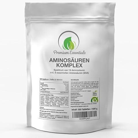 AMINOSÄUREN KOMPLEX - 500 Tabletten Vorratspackung a 1000mg (Vegan)   ULTRA HOCHDOSIERT   Alle 18 AMINOSÄUREN INKL. 8 ESSENZIELLER AMINOSÄUREN   Muskelschutz, Muskelaufbau & Diätunterstützung   Versorgung des Körpers mit den wichtigsten Aminos   Premium Qualität OHNE (Soy Tabletten)