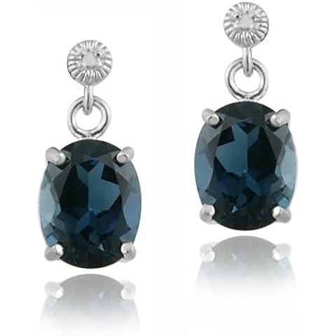 Argento Sterling con topazio blu Londra 6,4ct & diamante Accent-Orecchini con pendente ovale - Genuine Diamante Bridal Set